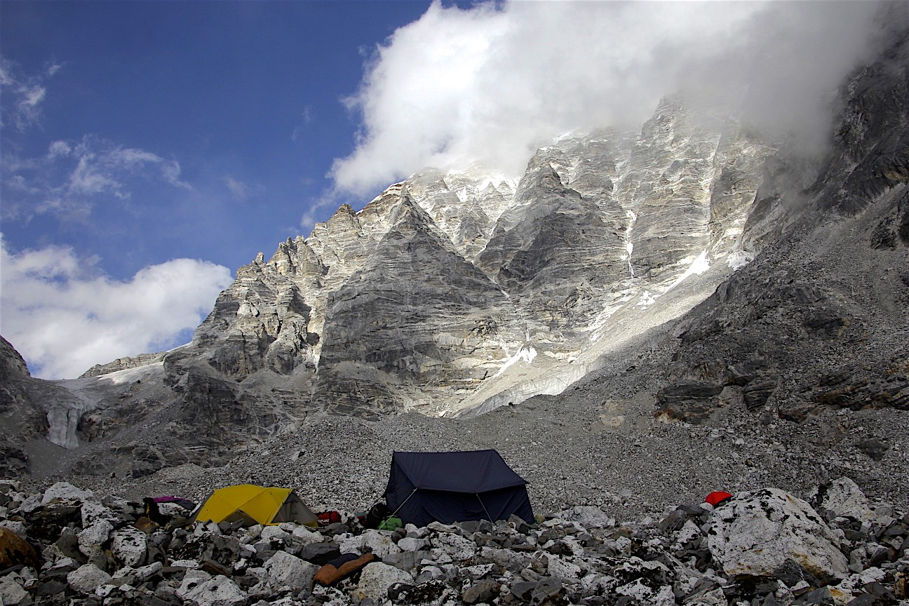 The high camp for the Tilman Pass.