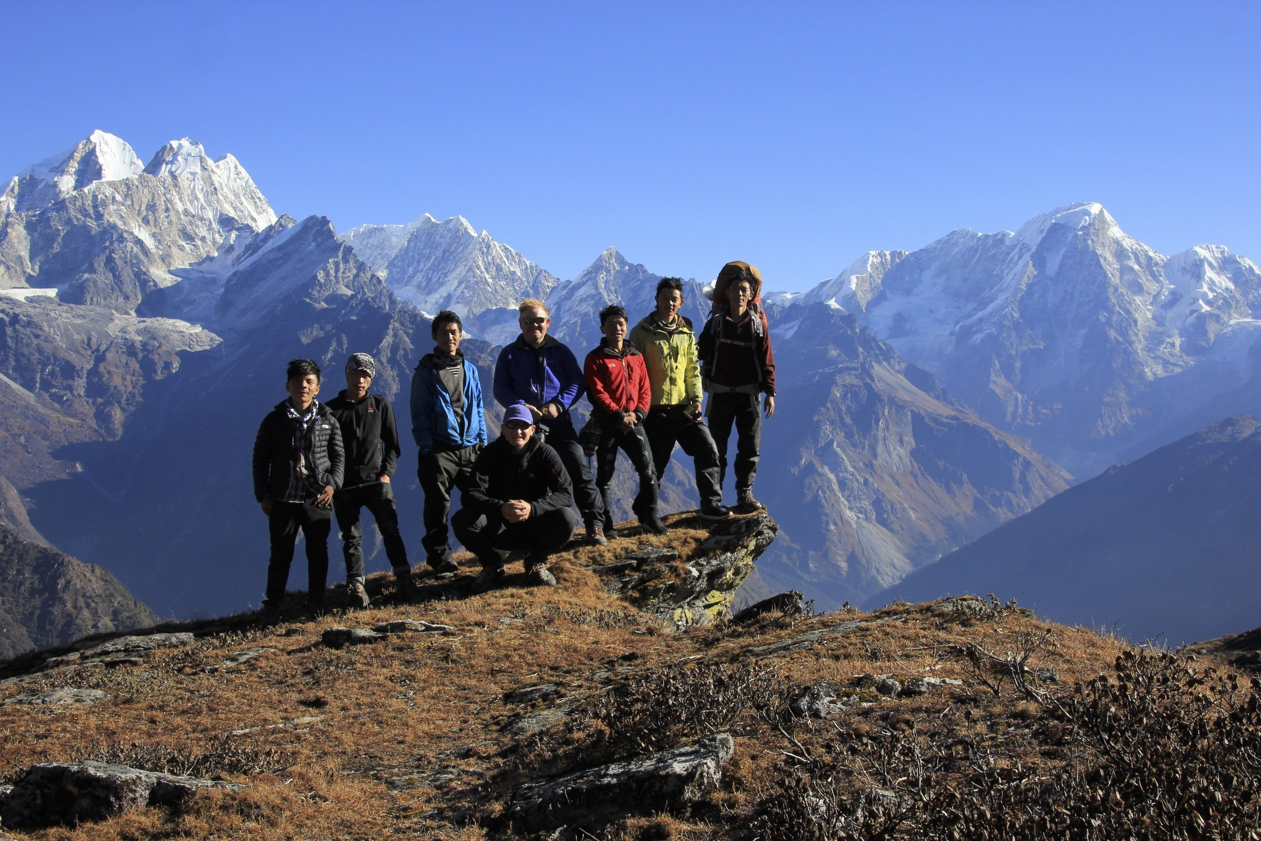 Our entire crew in front of the magnificent panorama of the Jugal Himal from Panch Pokari at 4,250m.
