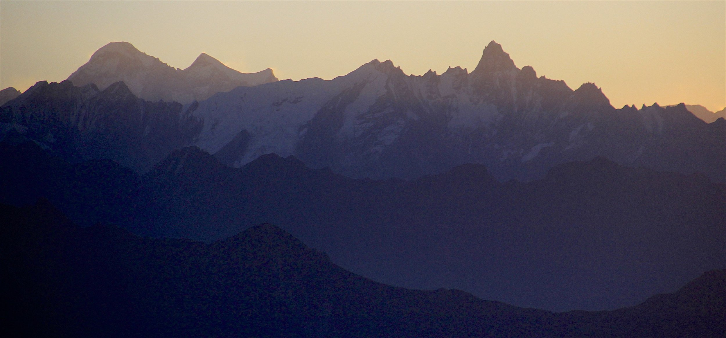 The Jugal Himal in Tibet right before the sunrise seen from our descent round from the Ganjala Pass.