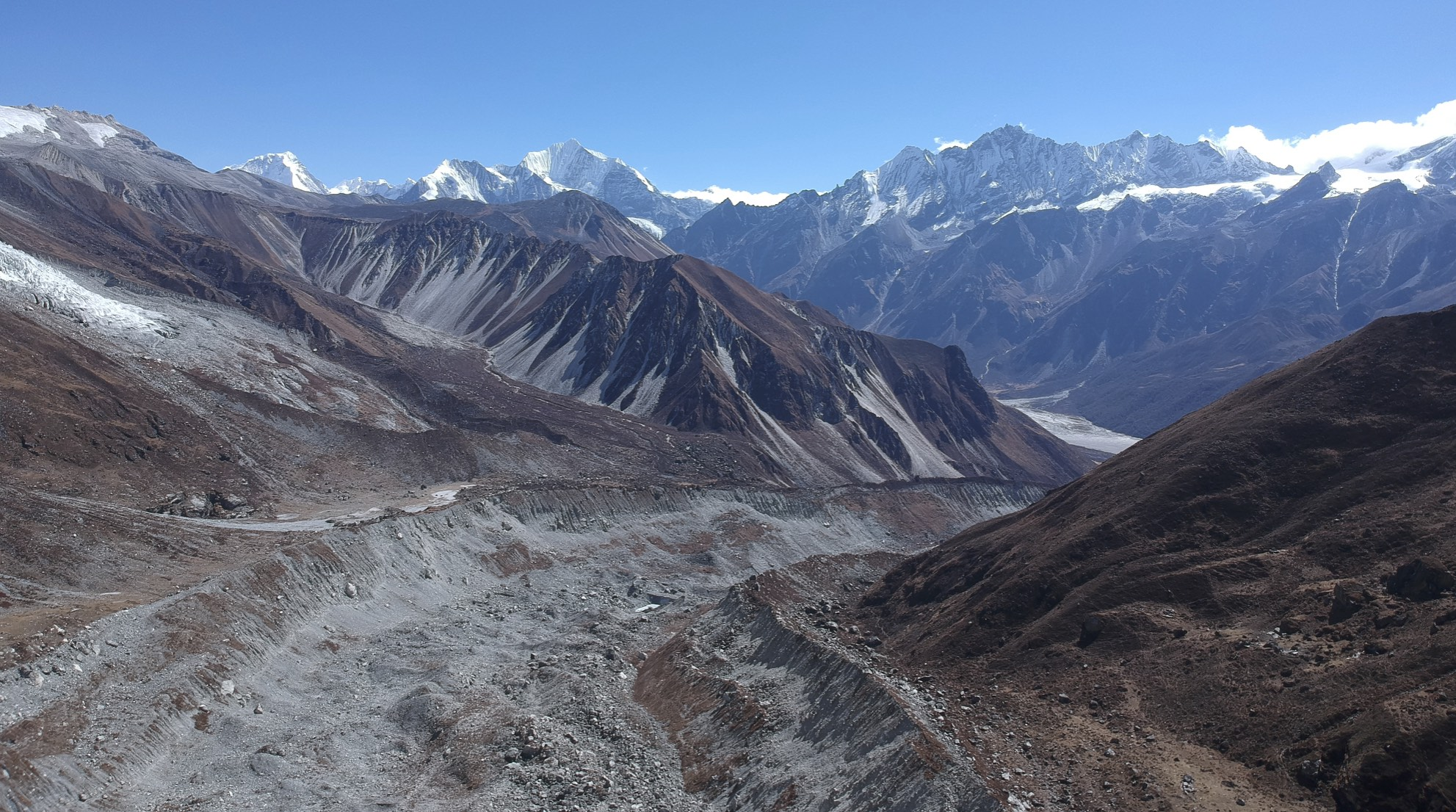 Langtang Lirung Glacier - Looking at the Langtang Valley 5 km away and 800m below.