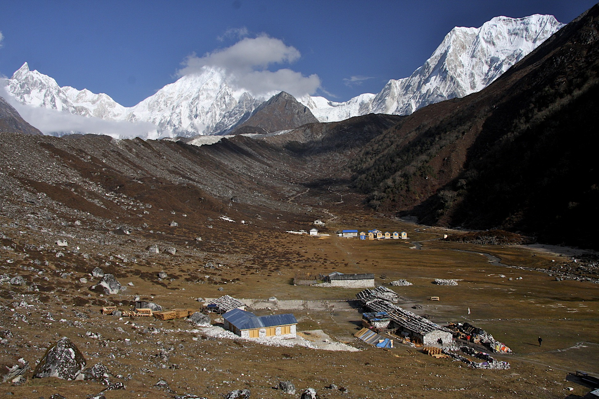 Bimthang, Panbari Mountain (right) and Nemjung (centre)