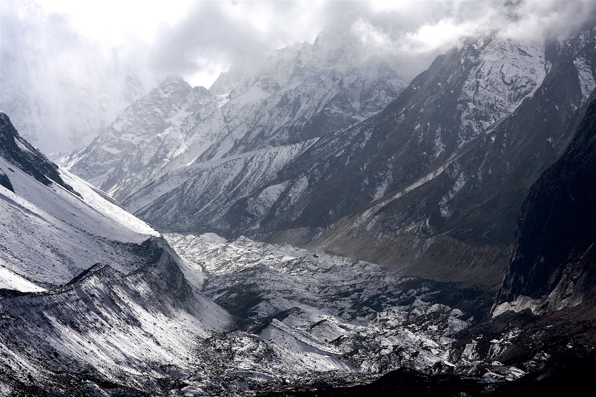 Syanche Glacier and north side of Manaslu.