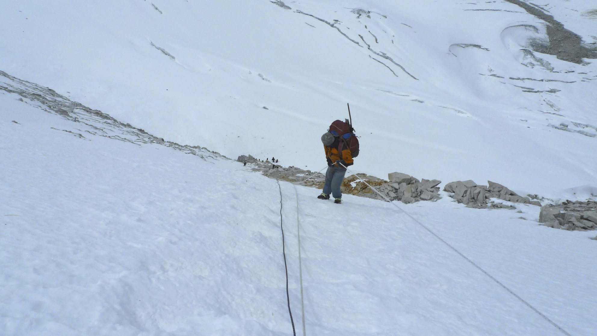 Descending from the West Col on fixed ropes.