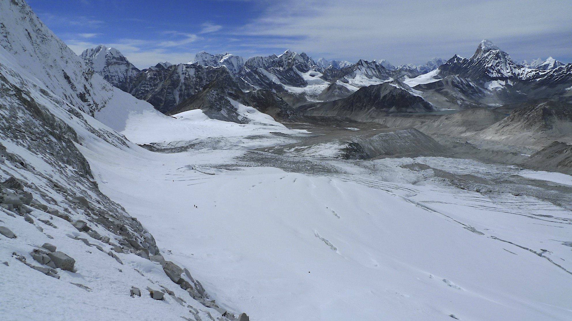 Descending from the West Col. Hinku Valley is below.