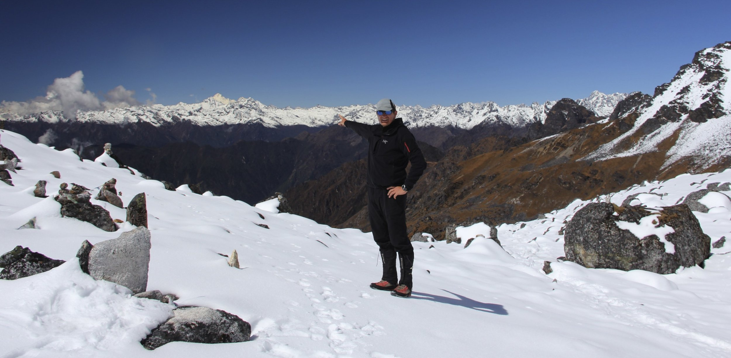 Selele La Pass 4,480m. I am pointing at Mt. Makalu where I was the year before.