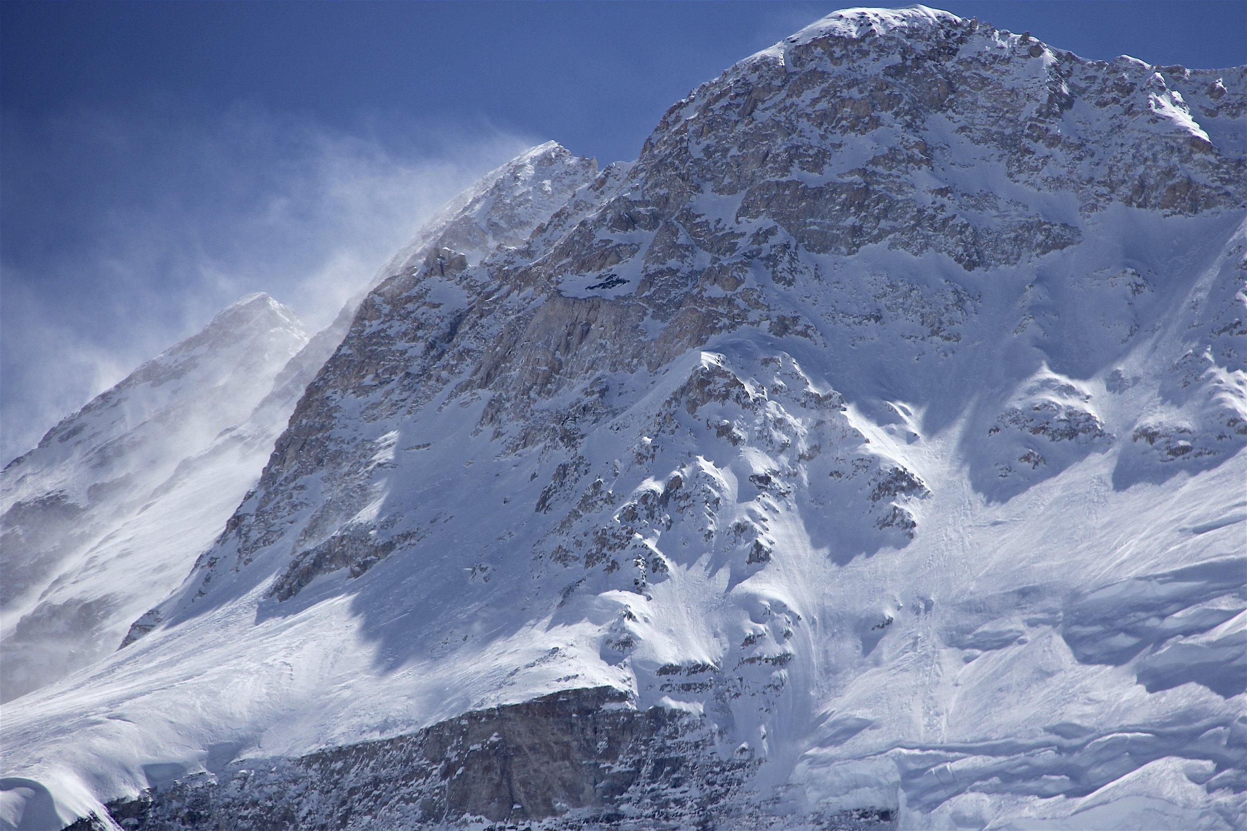 Kangbachen 7,802 and Kanchendzonga North Face as seen above Ramdang Glacier