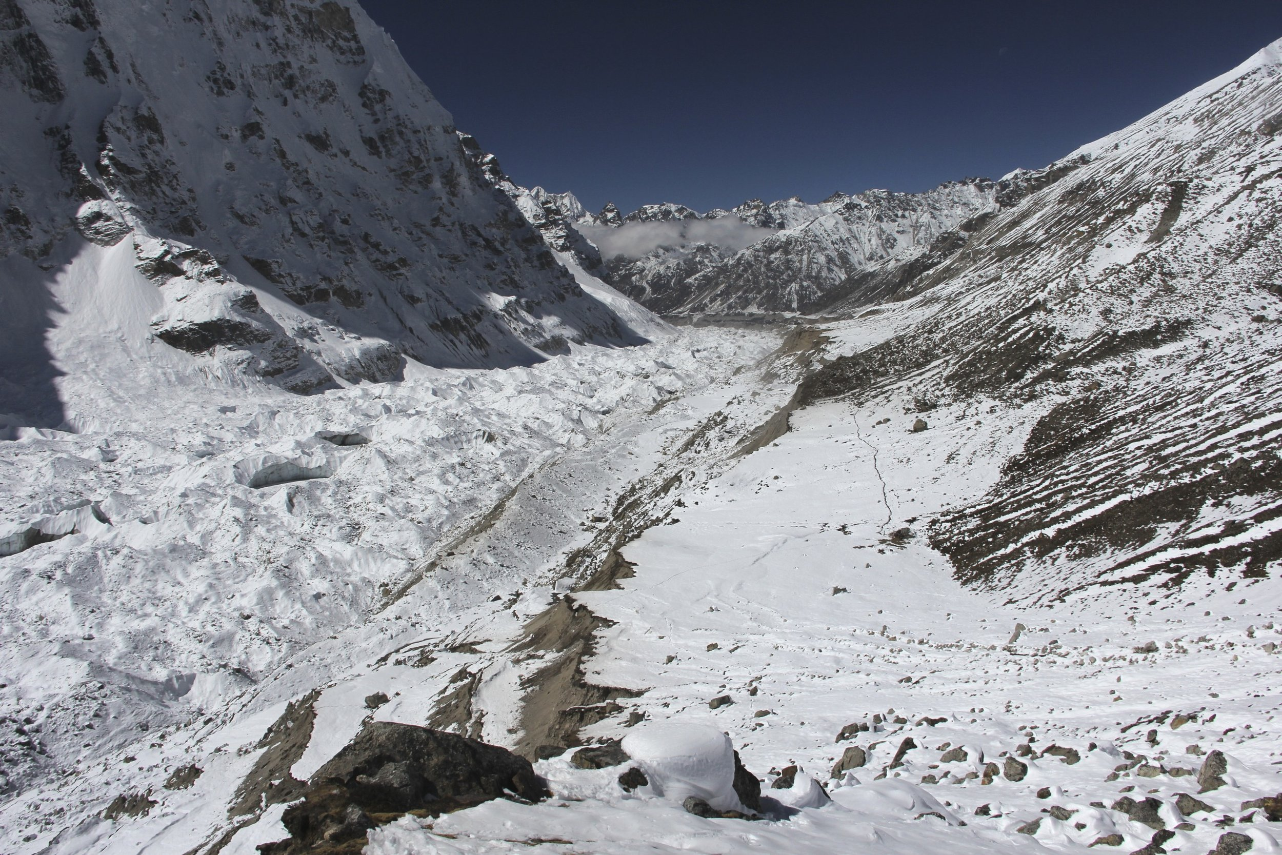 Kanchendzonga Glacier and Pangpema looking from the slopes above the Pangpema camp.
