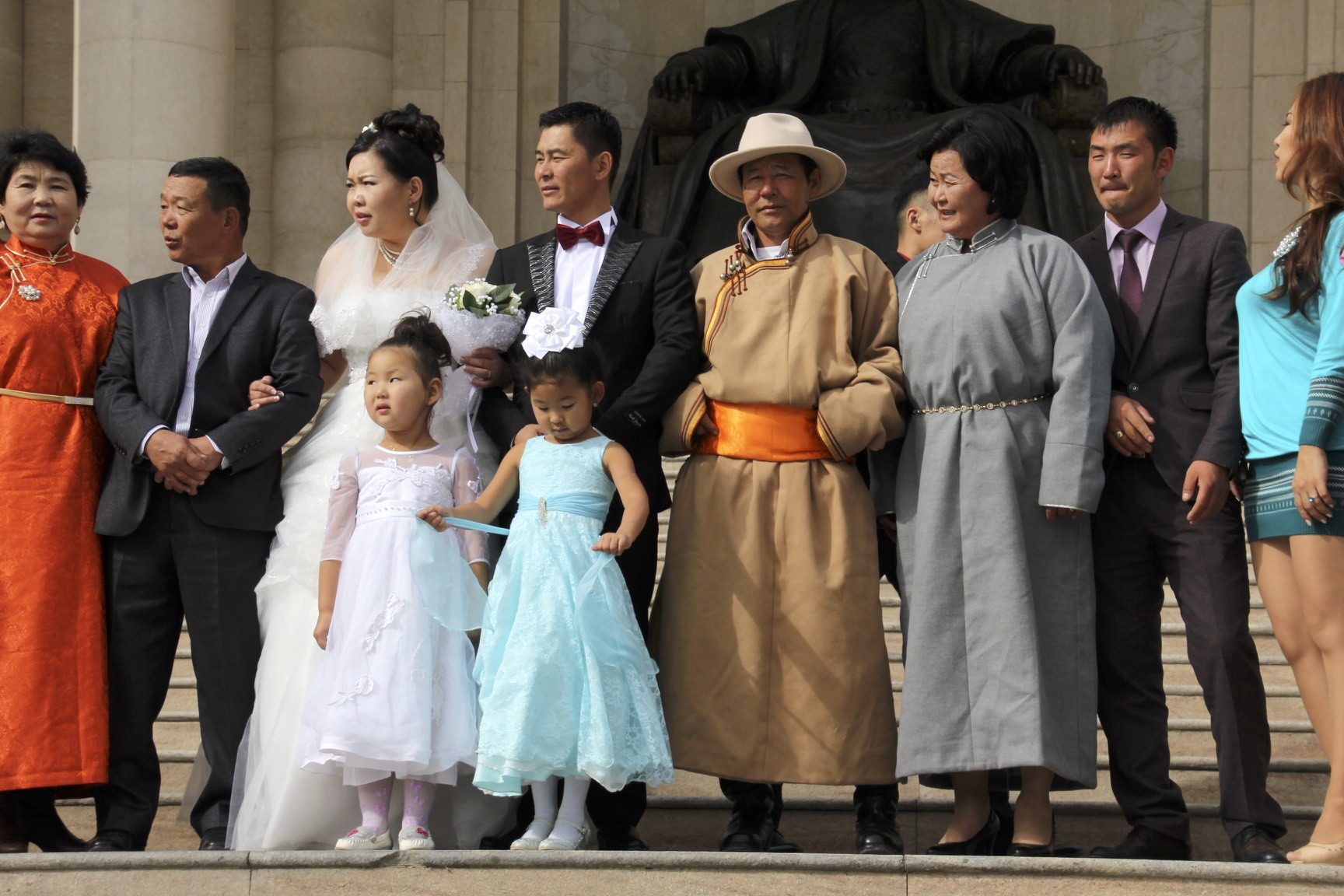 Mongolian wedding - dressed in their finest