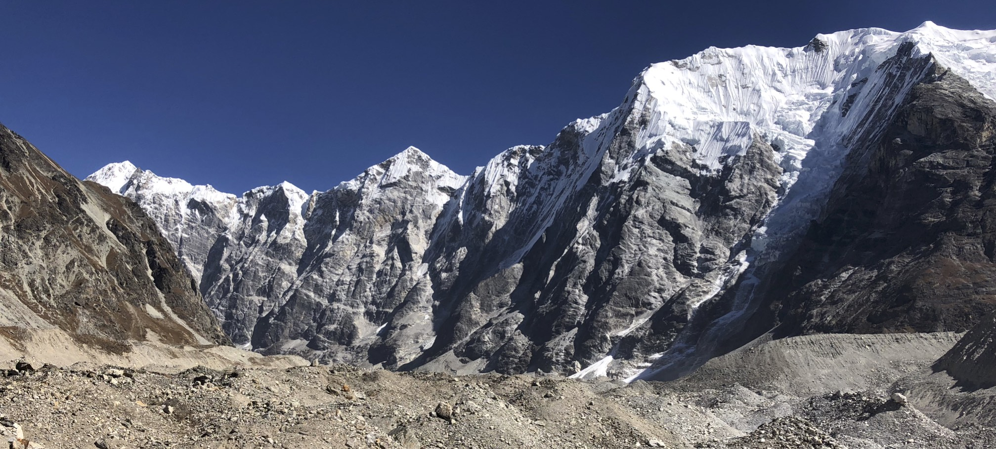 On the Langtang Glacier - the wall of 6,000m is blocking the view of Mt. Shishapangma hiding right behind them.