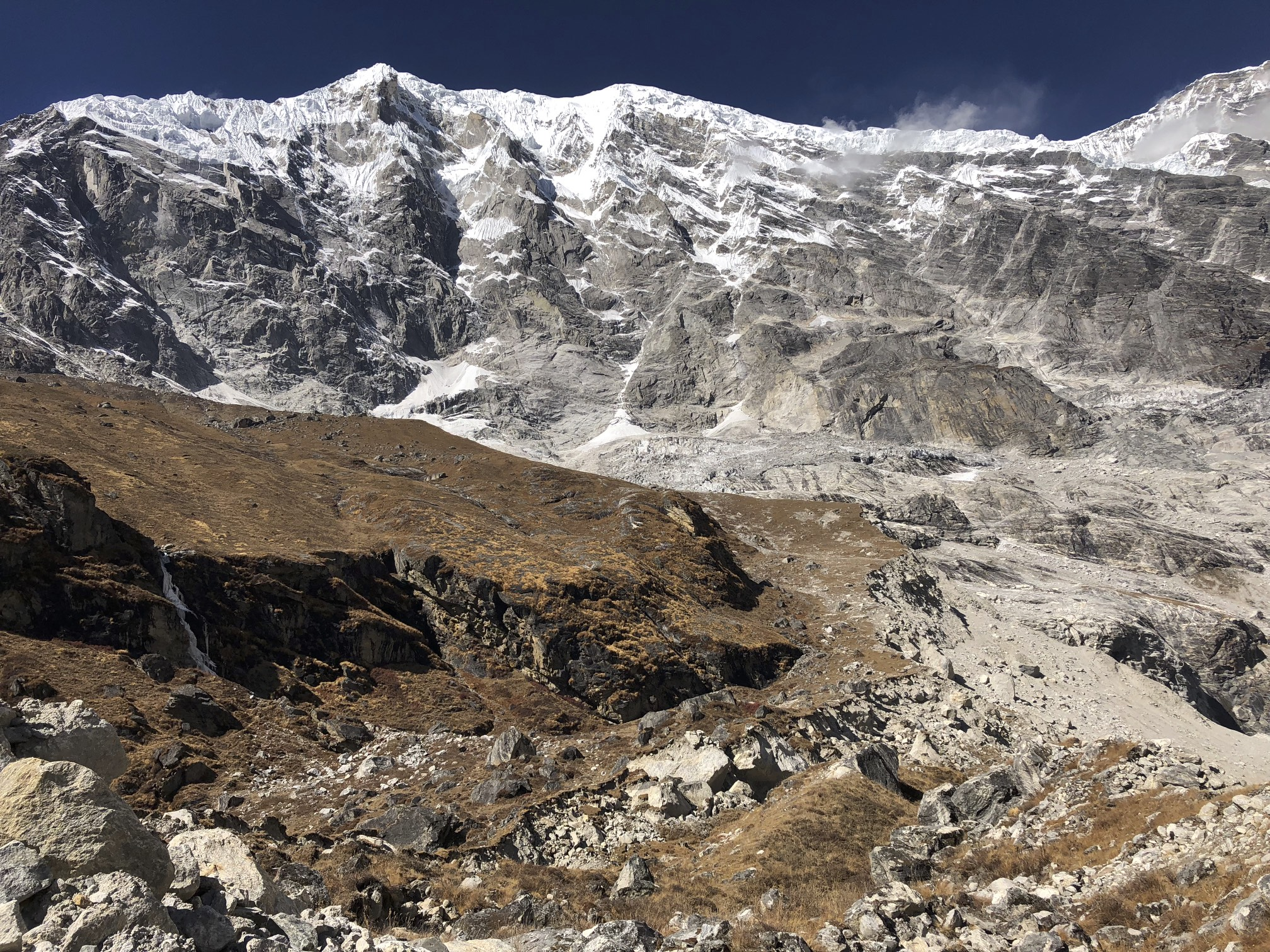 Langtang Lirung looming over the basecamp