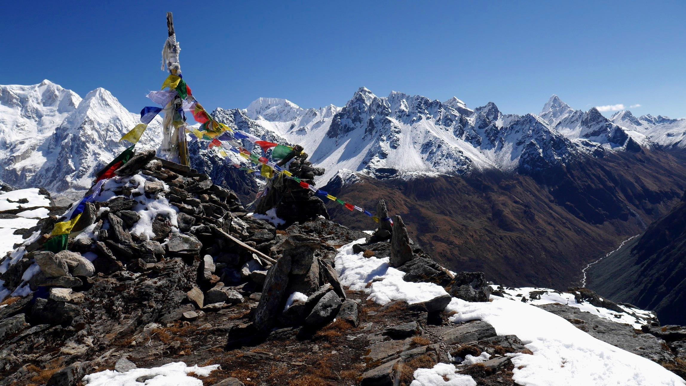 Sinjon La Pass 4,646m - looking at mountains India's Sikkim