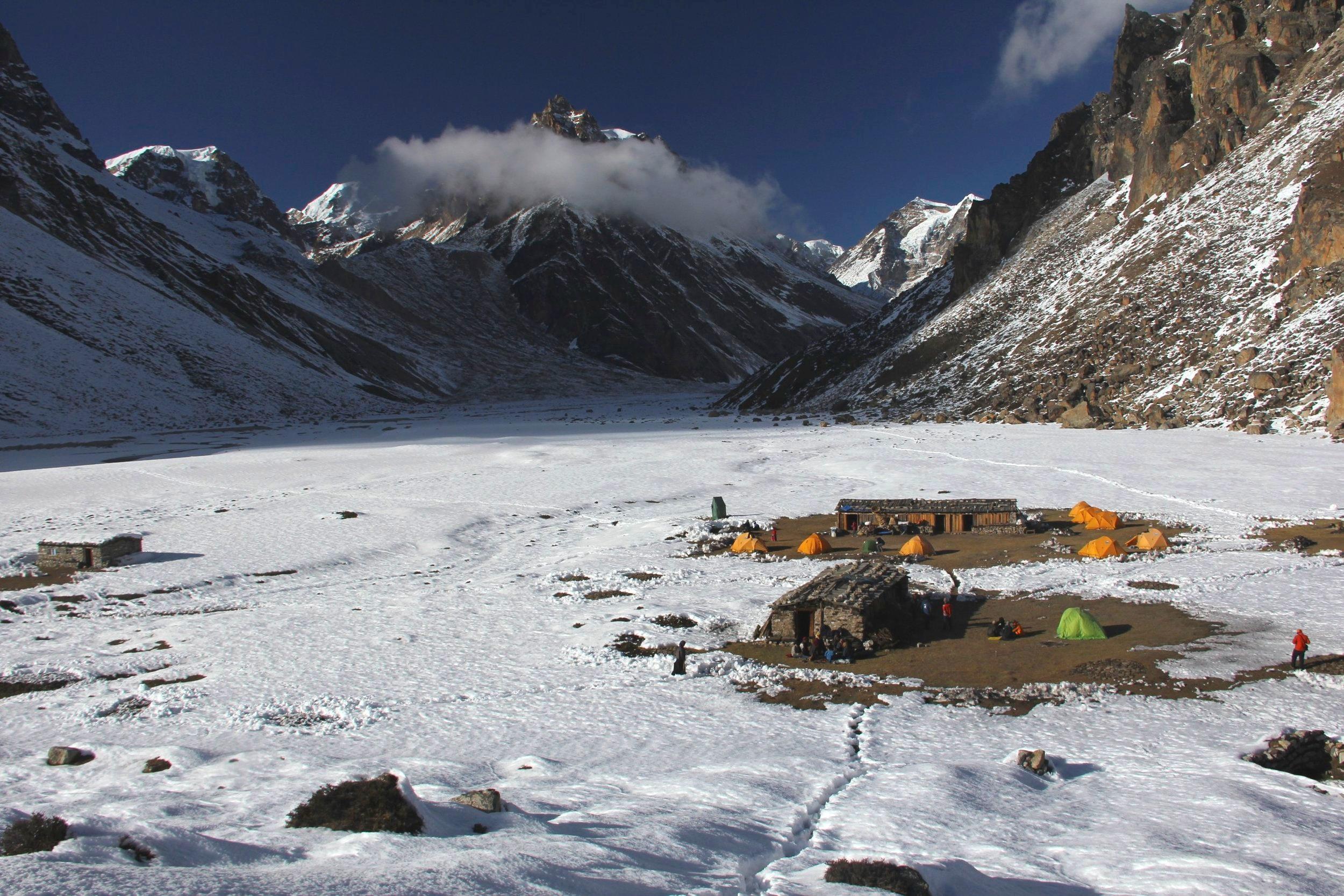 The camp at Lhonak