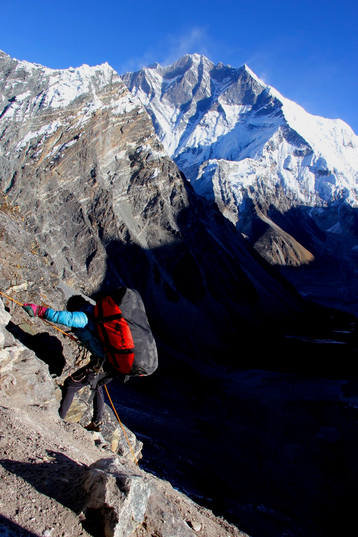 Very steep descent from Amphu Labtsa Pass with Lhotse South wall dominating the skyline.
