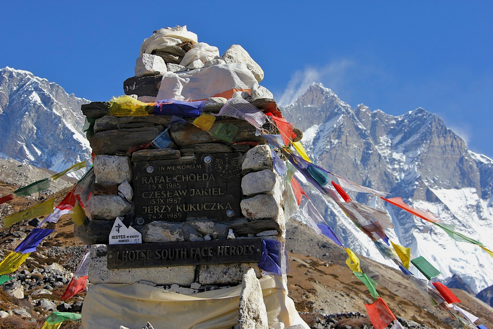 The memorial to the Polish climbers who died on Lhotse in the 1980s.
