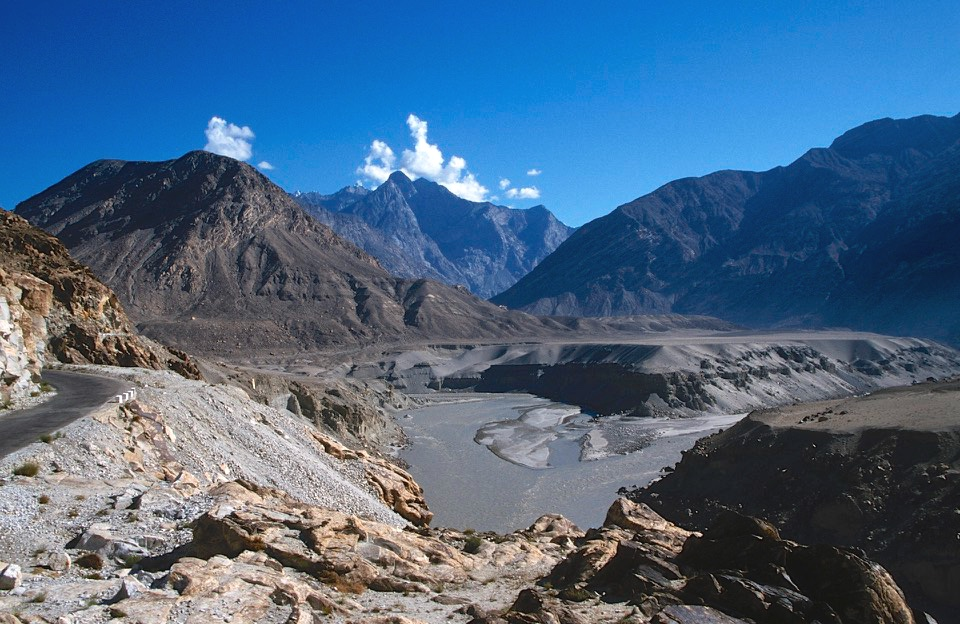 The confluence of the Himalayas, Karakoram and Hindukush. This is also the turnoff to Skardu from the main KKH.