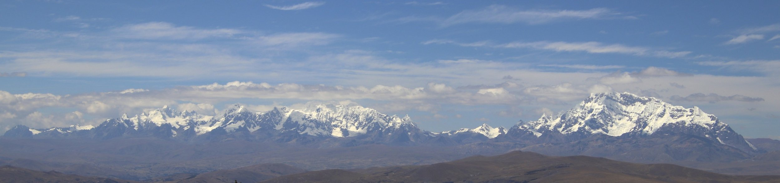 The entire Ausangate Range. The large mountain on the right is Apu Ausangate 6,372m.