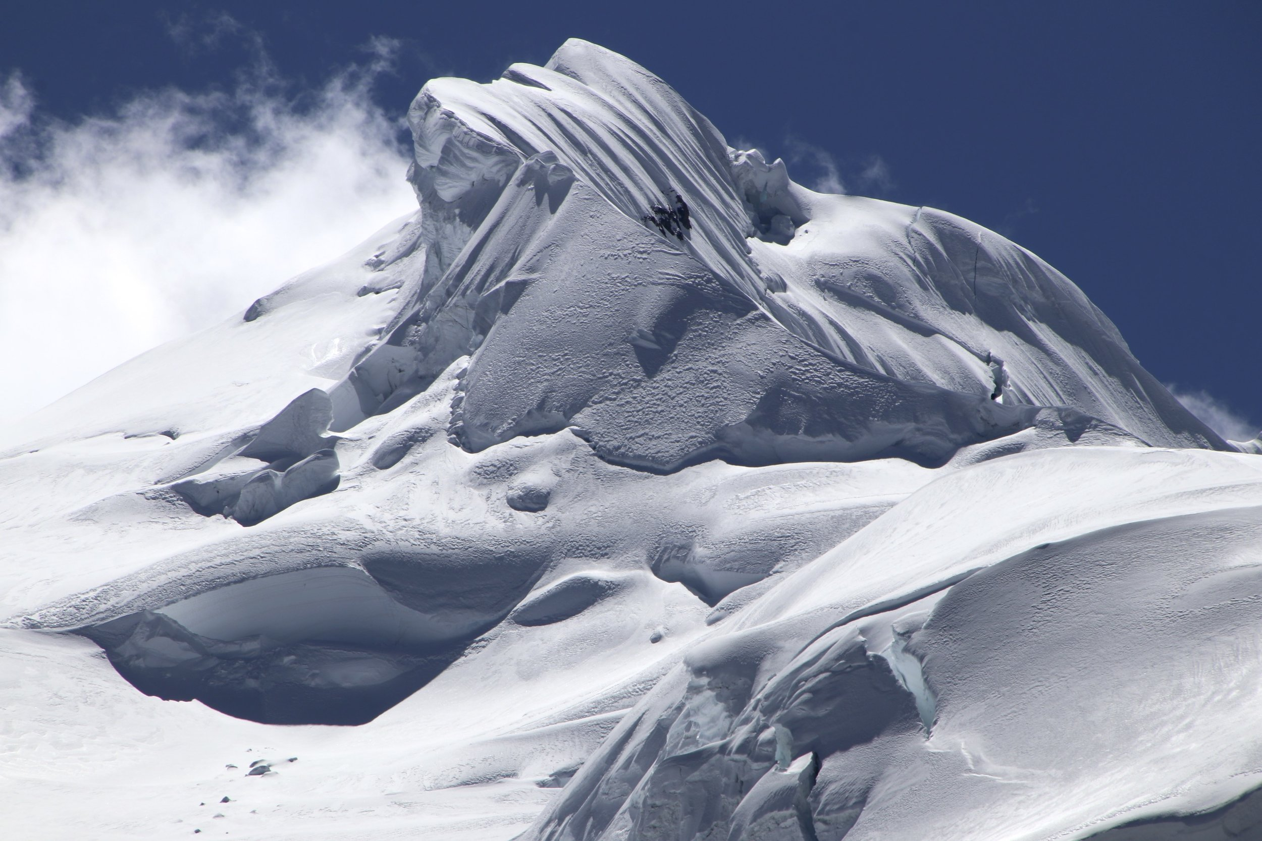 The wild snow formations on the summit of Ausangate at 6,372m