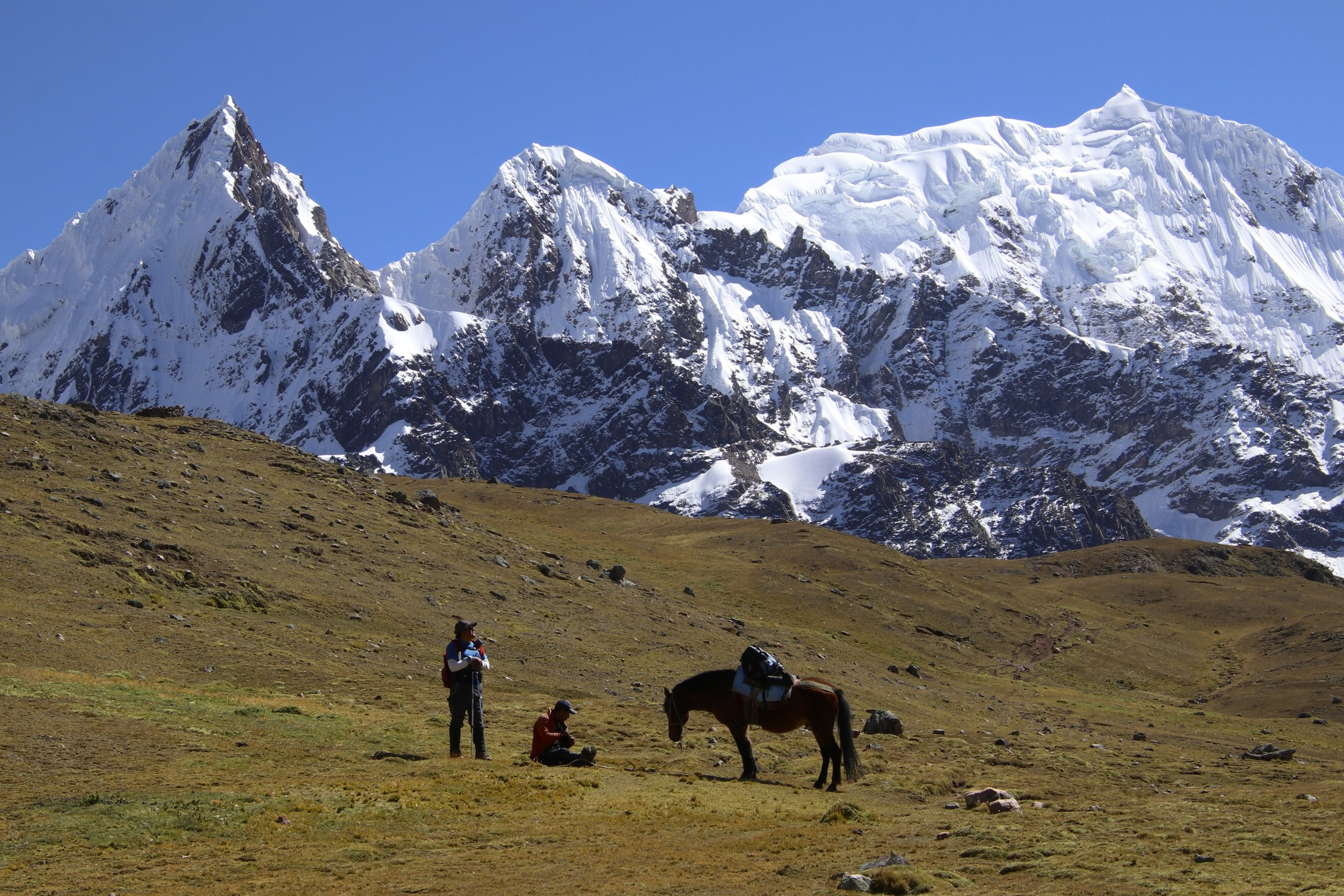 From Pampakancha camp, the trail leads to the fourth high pass Jampa Pass at 5,050m