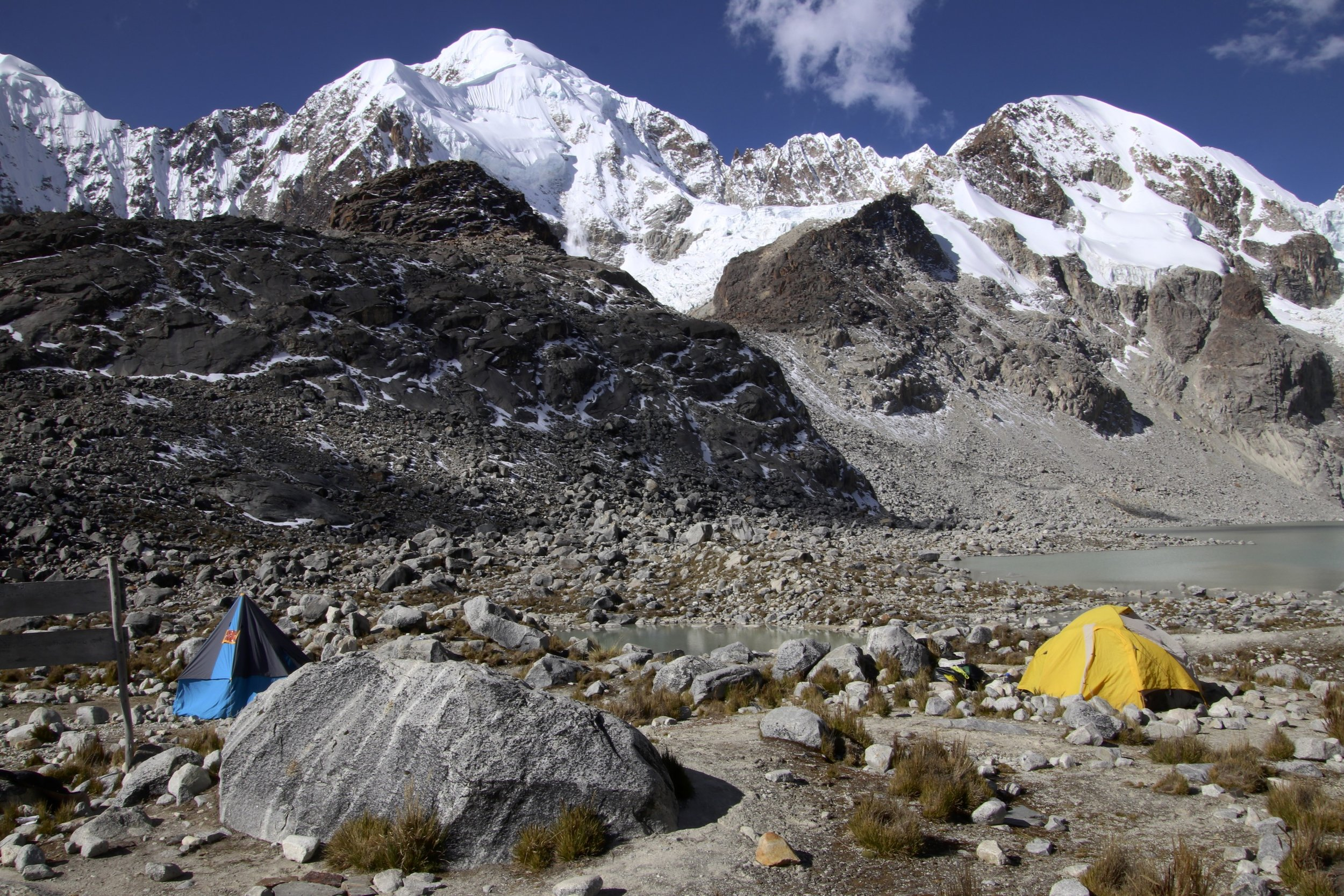 Our camp at Laguna Glaciar at 5,100m. This is a very beautiful spot with high Andes all around. This is how far we made it in 2010. I always wanted to come back and explore more of this fantastic corner of the Cordillera Real.