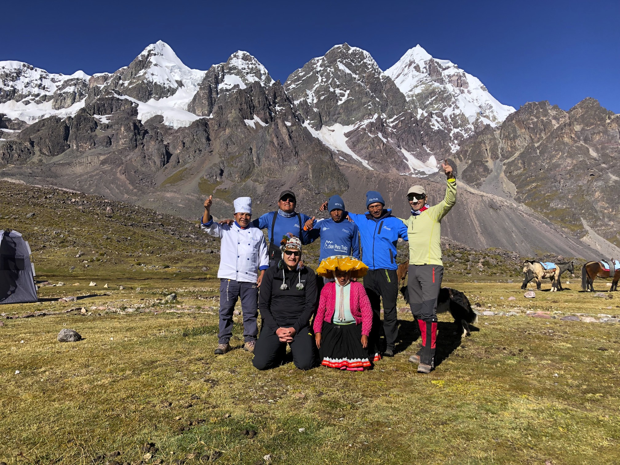 The Action Treks Peru team. Note our Chef in a very formal outfit. His meals were of restaurant quality and I can honestly say that I have never had better meals on any treks in the past 20 years!