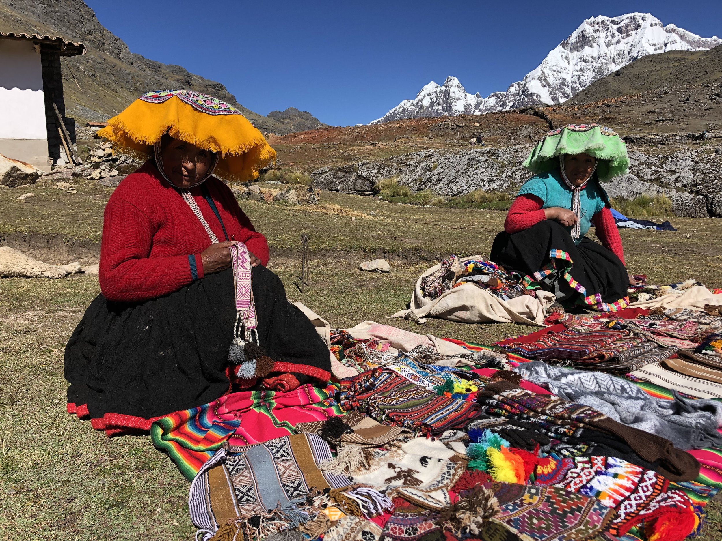 Local ladies selling their creations at our last camp. The ladies weave the cloth and make various things from it.  The quality is high and the prices are very fair.  This was a wonderful trek and a perfect way for us to acclimatize to altitude. And, it is only 4 hours away from Cusco! Another fabulous experience in Peru!