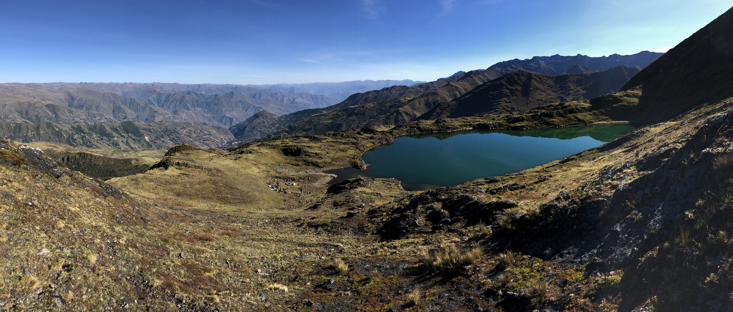 The first camp at Laguna Chillata at 4000m. It is a beautiful and clear lake which is sacred to the local people.