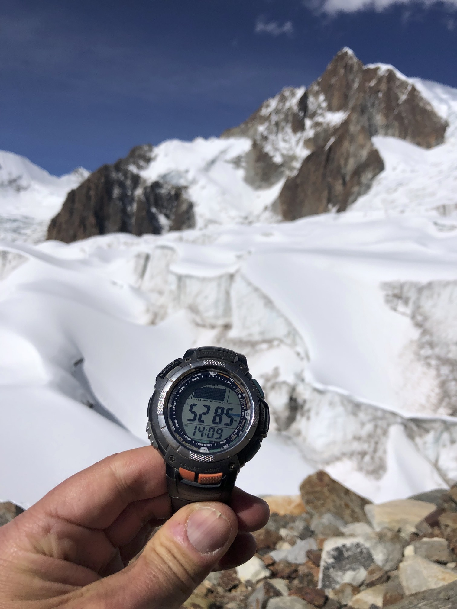 The altitude of the high camp. My altimiter is off by 180m so it is really 5,465m.