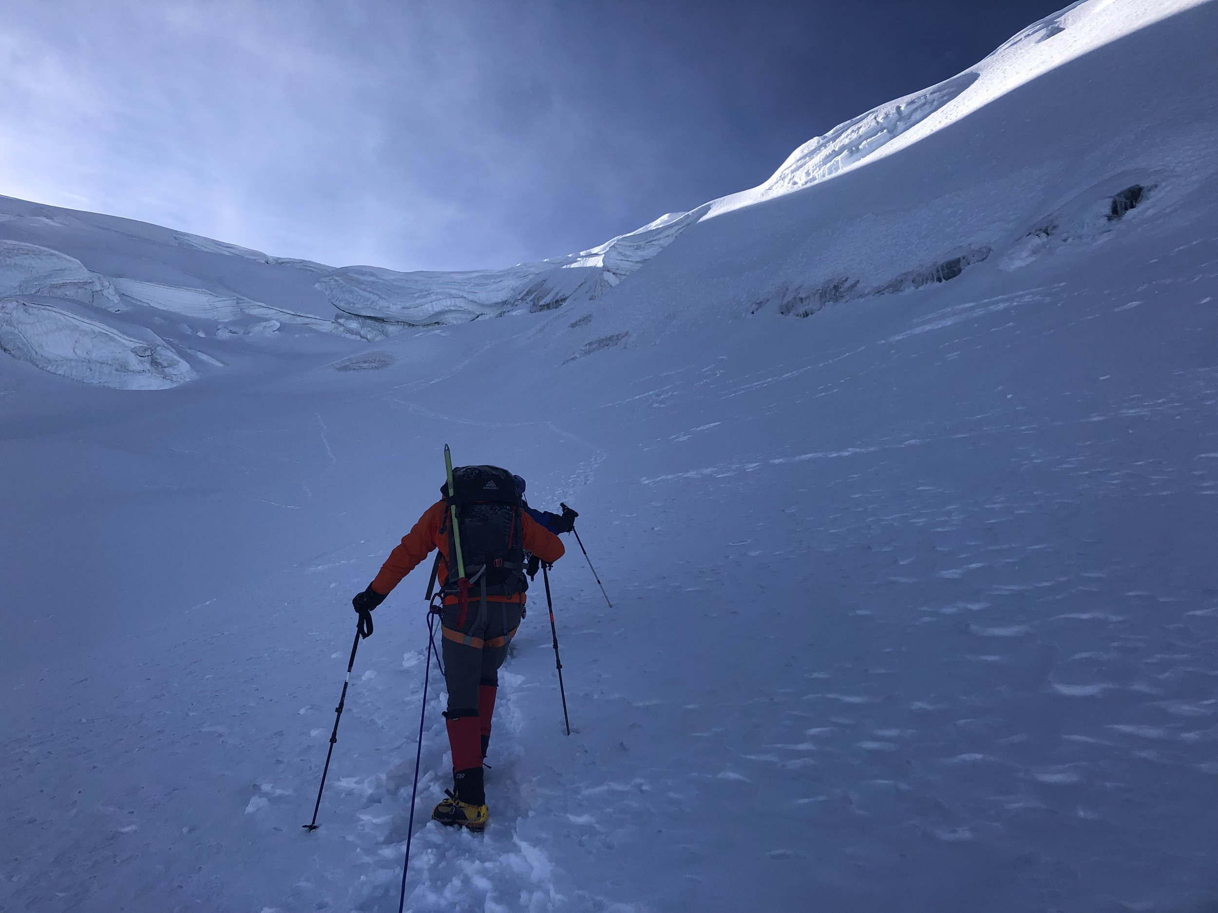 Well above 6,000m. Approaching the final section fo the climb. the summit is just above us.