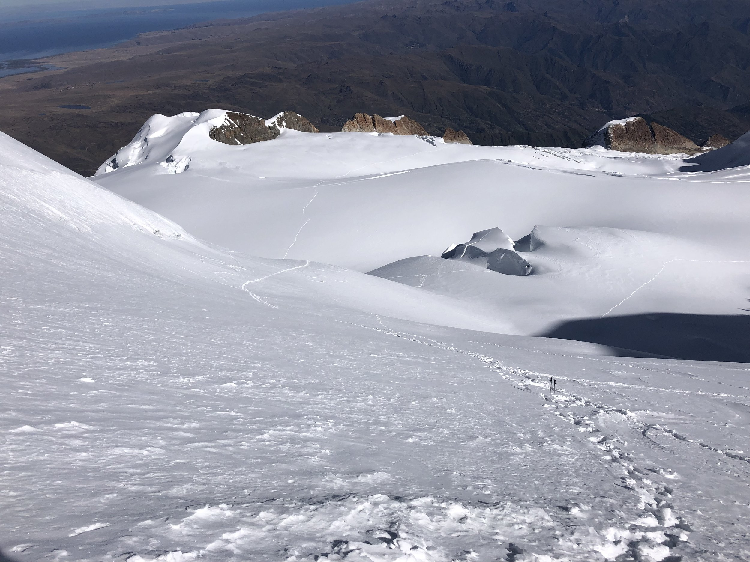 Looking down to our route. The camp is well below!