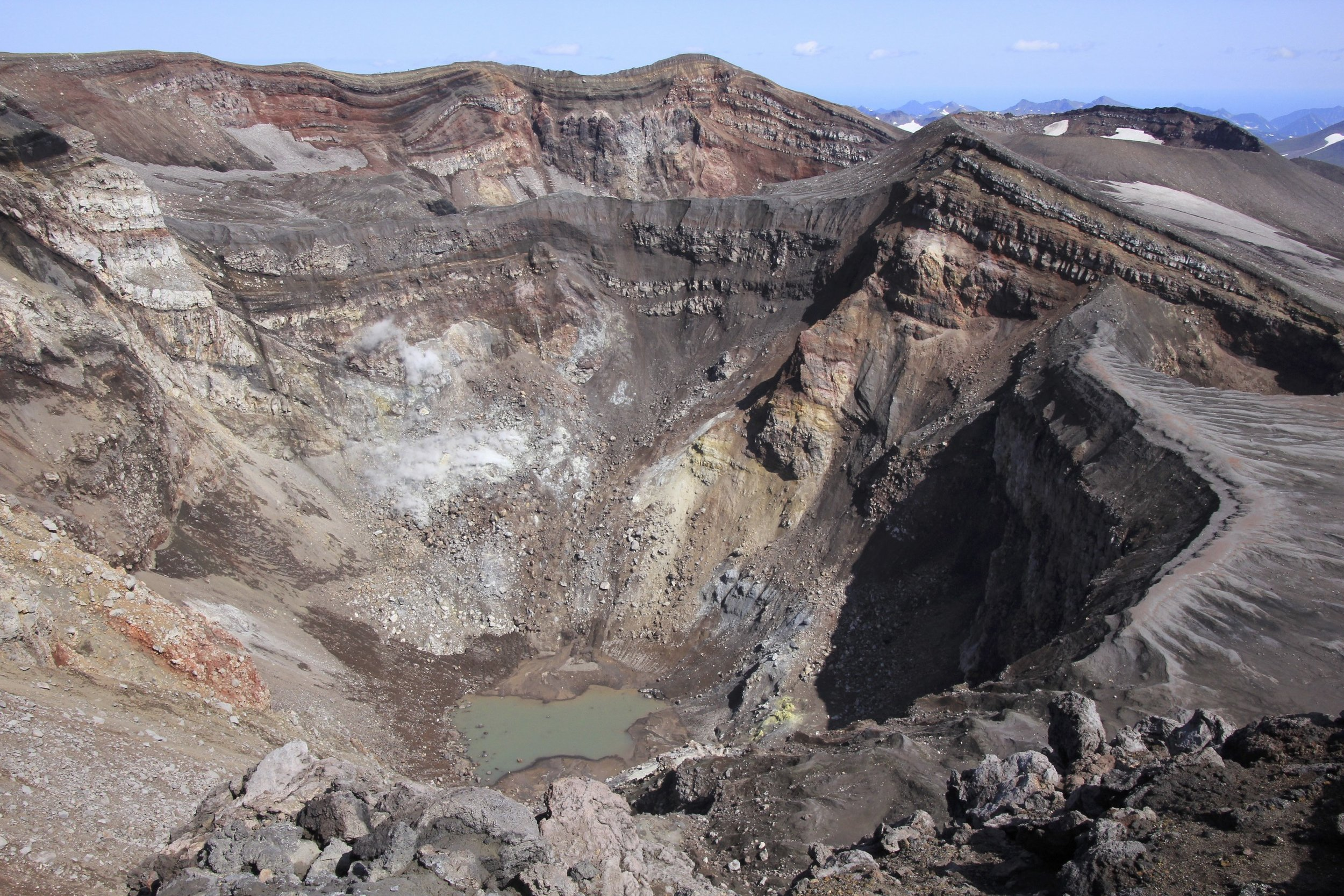 The active crater of Gorely, We walked by numerous active vents and the smell of sulfur was in the air.
