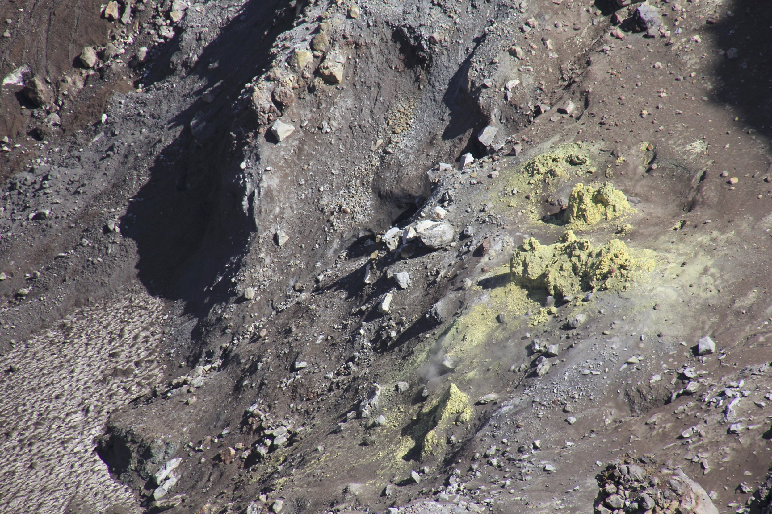 The closeup of one of the vents of the Gorely Volcano.