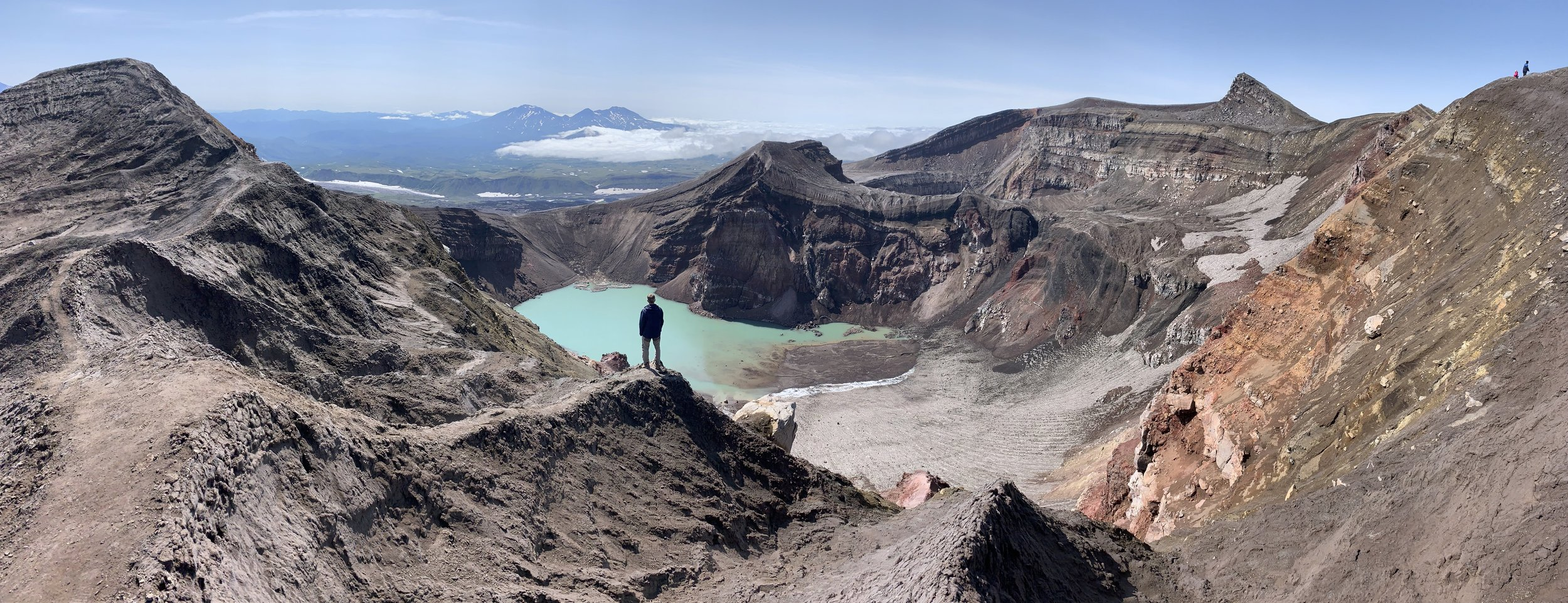 The entire main crater of the volcano is quite large and requires a few hours to traverse. It is a great hike though providing views of various craters, the surrounding plateau, and distant volcanoes.