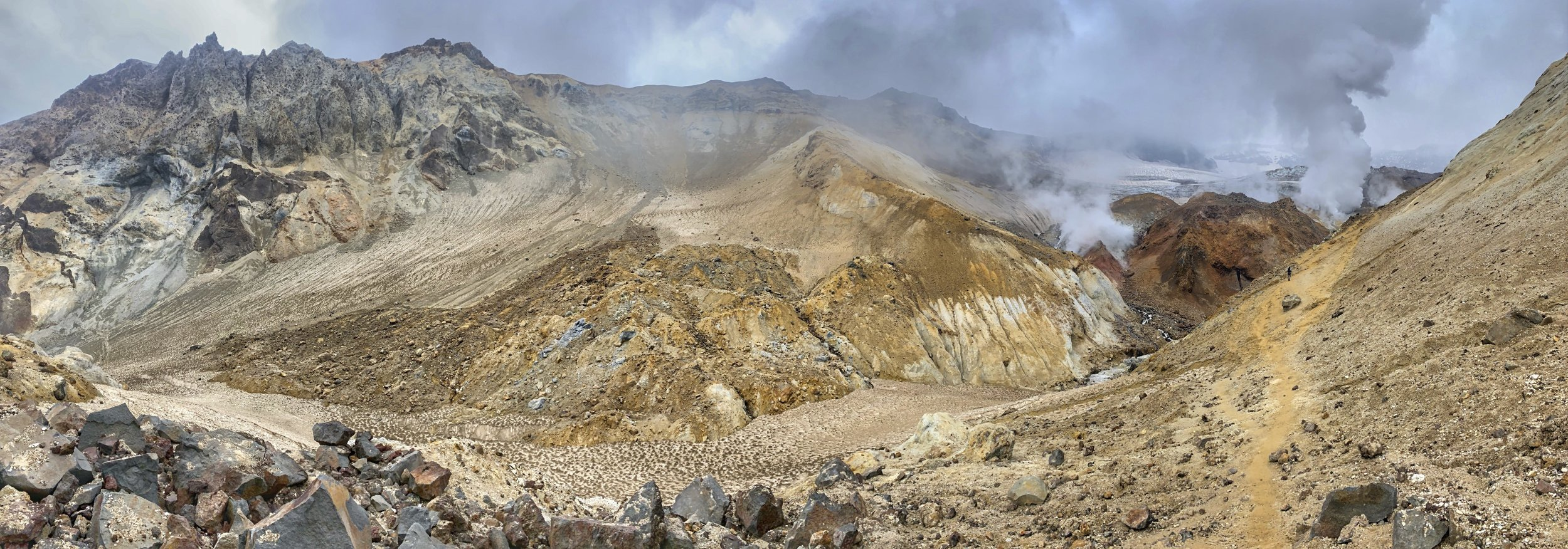 The pano view of the fumarole fields.