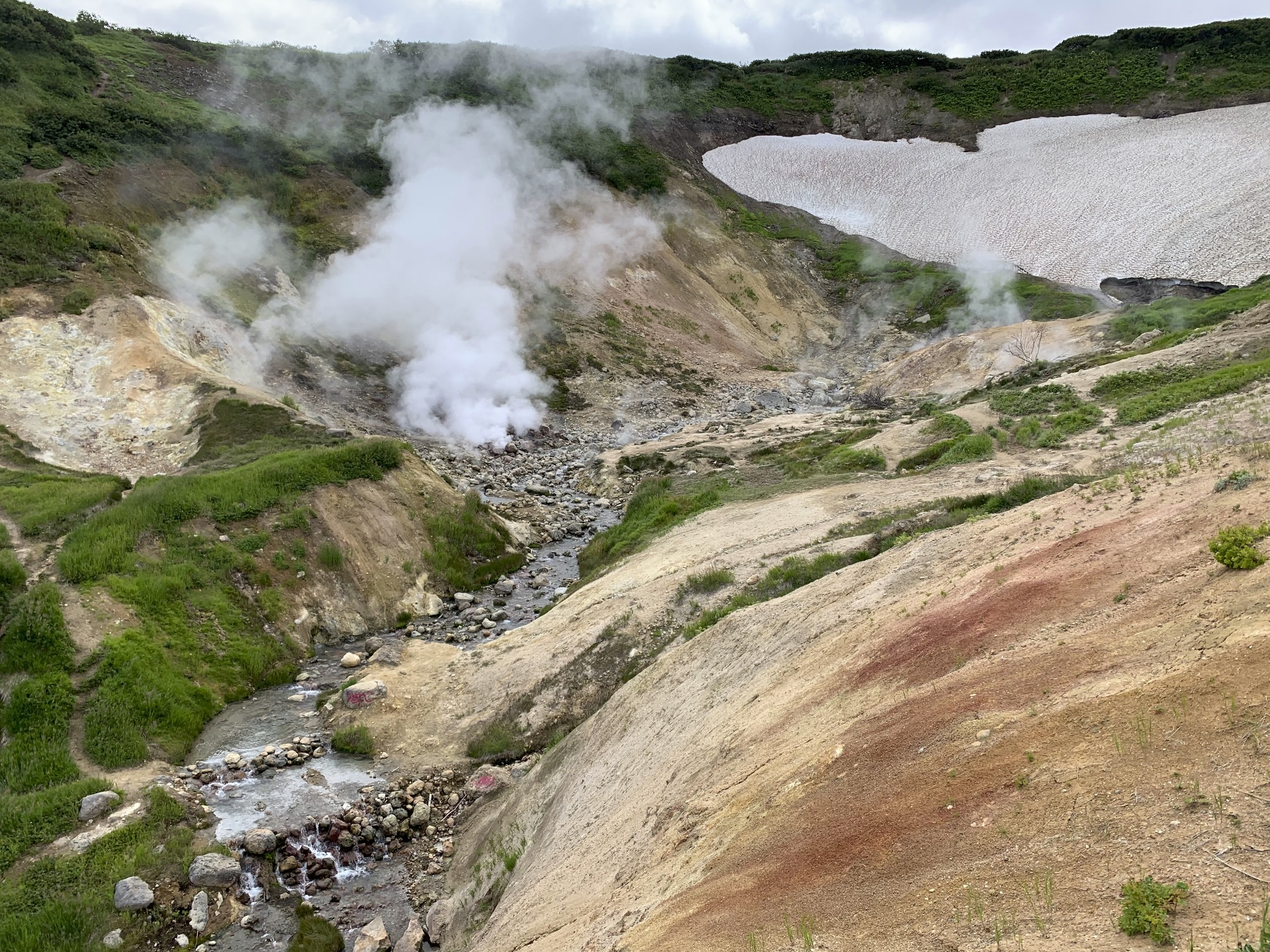 The Dachnye Hot Springs. There are numerous boiling and pulsating springs, fumaroles the temperature of which can reach up to 250C.