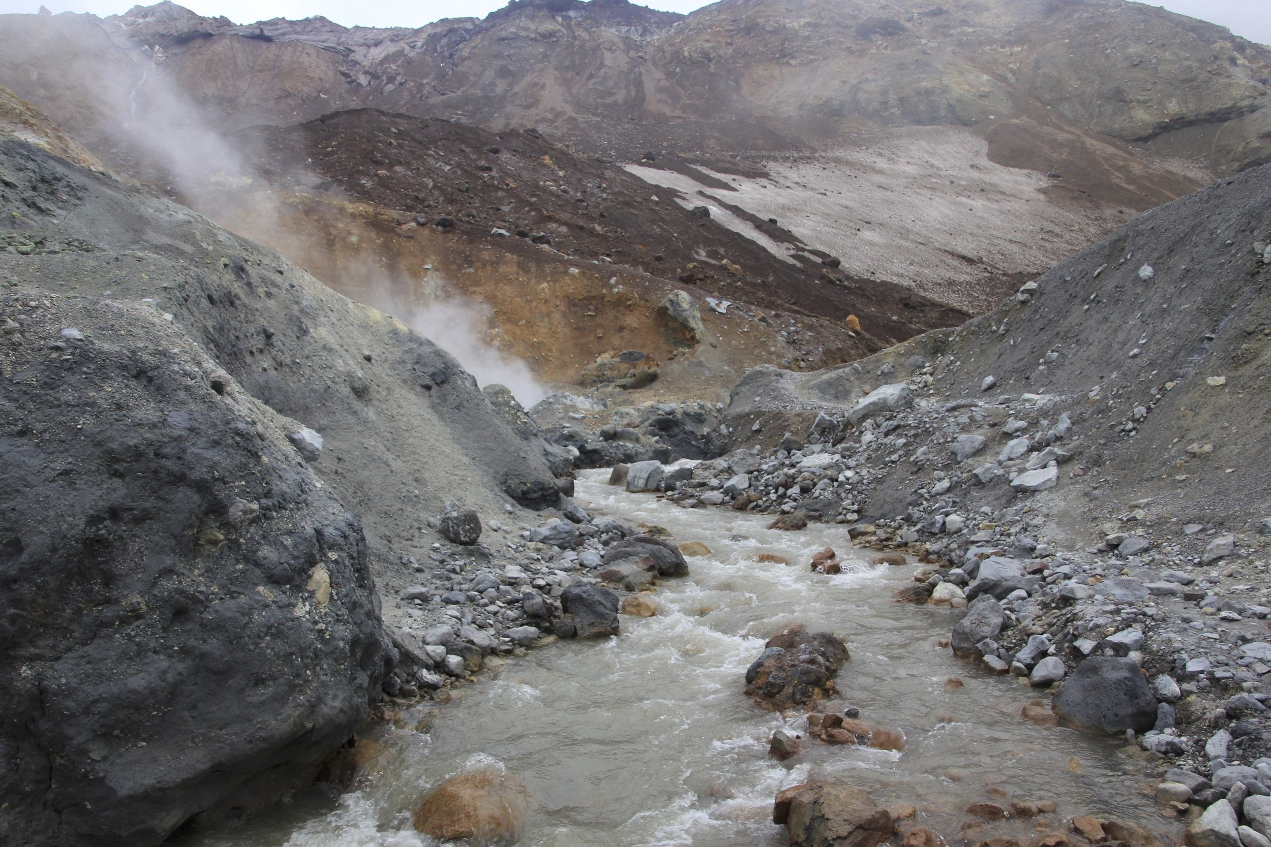 "The ""Boiling River"" Vulkannaya. There were some boiling water pools next to the river."