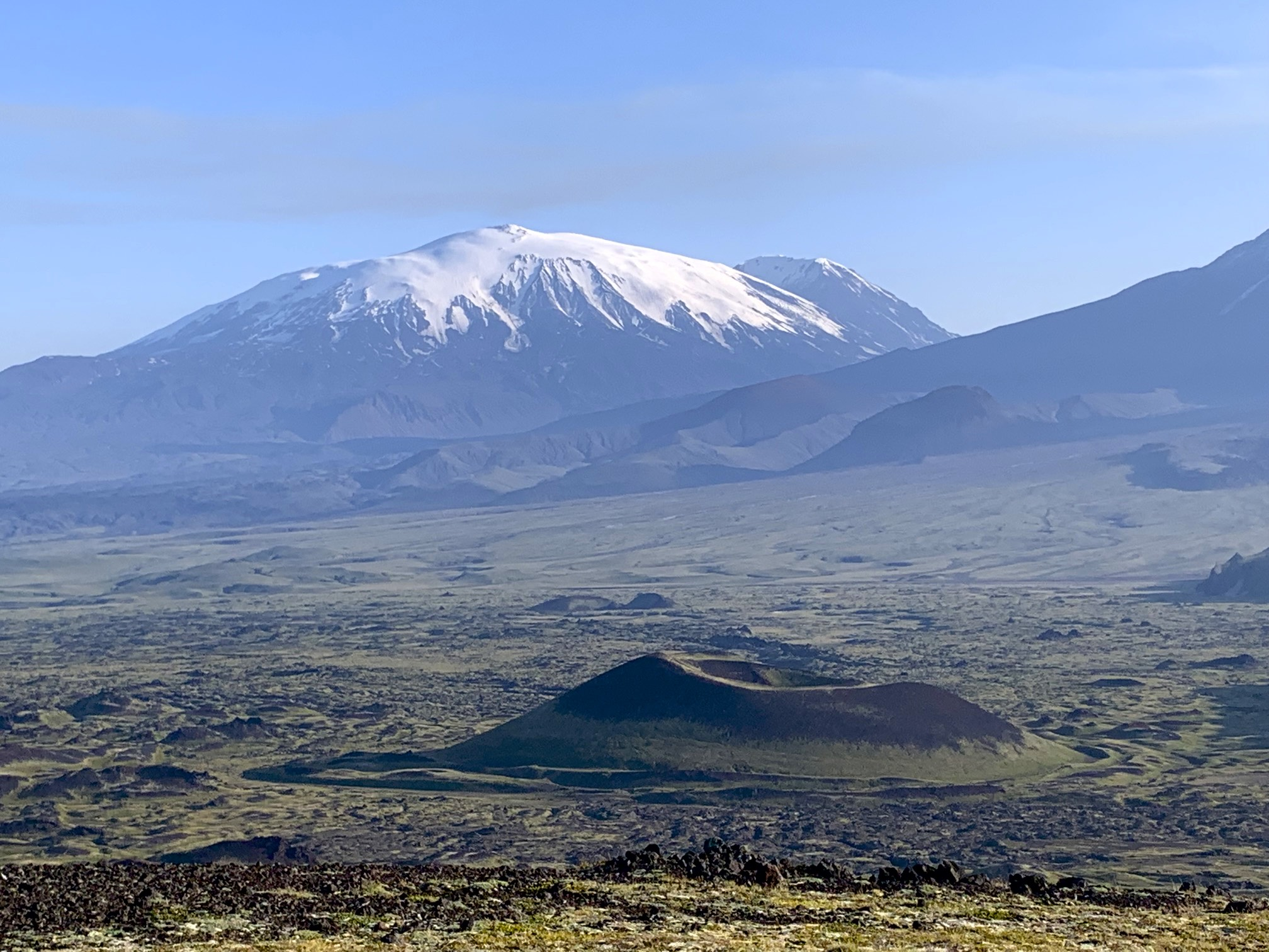 Ushkovsky Volcano together with Krestovsky Volcano are the biggest volcanic massif in Kamchatka. It is 3,943m high and 4,057m high and the base is 70 x 40km.