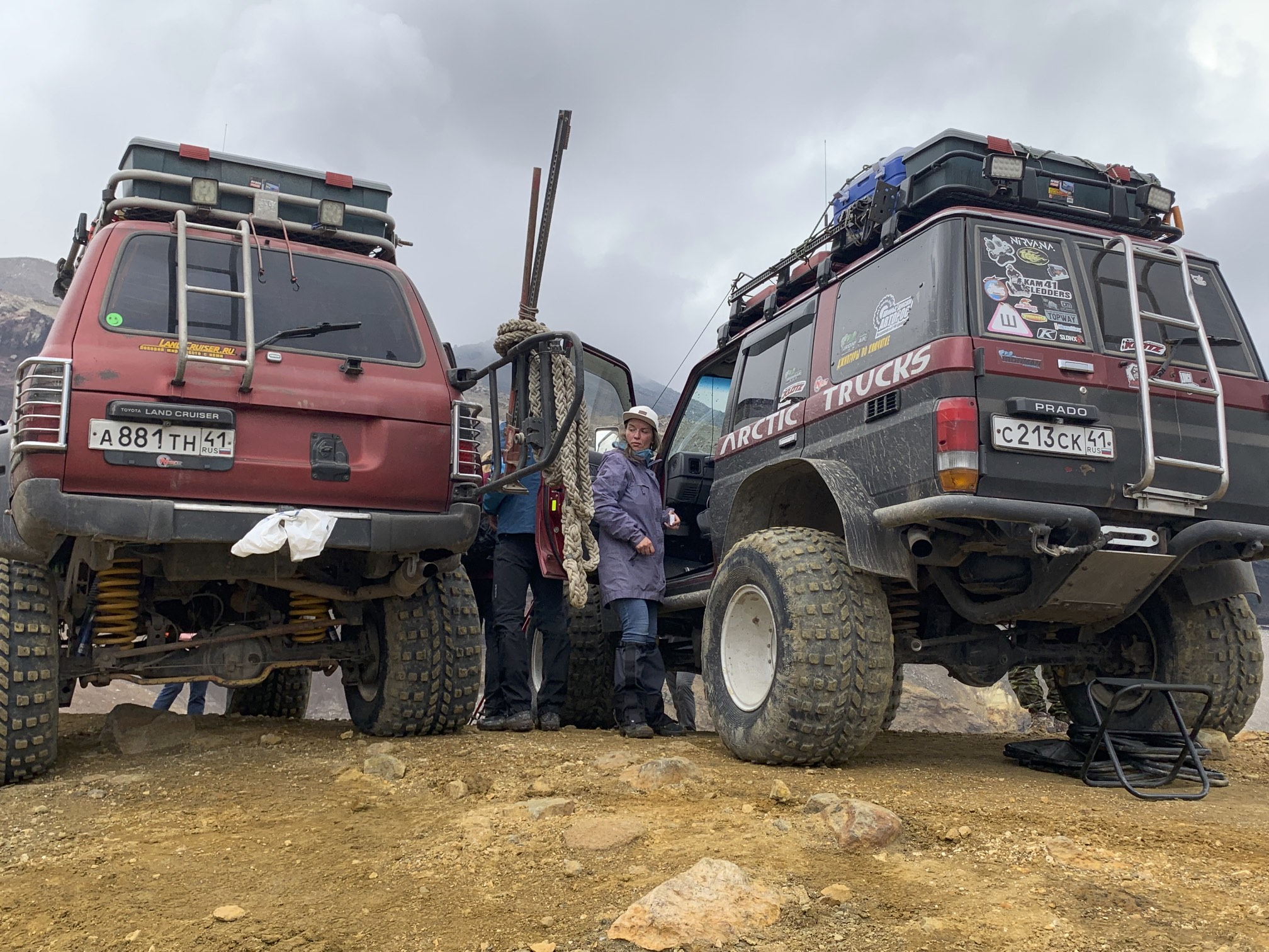 The local operators use these monster trucks to negotiate the rough road from PK to Mutnovsky. There seems to be a monster truck cult in PK as some of them were incredibly large.