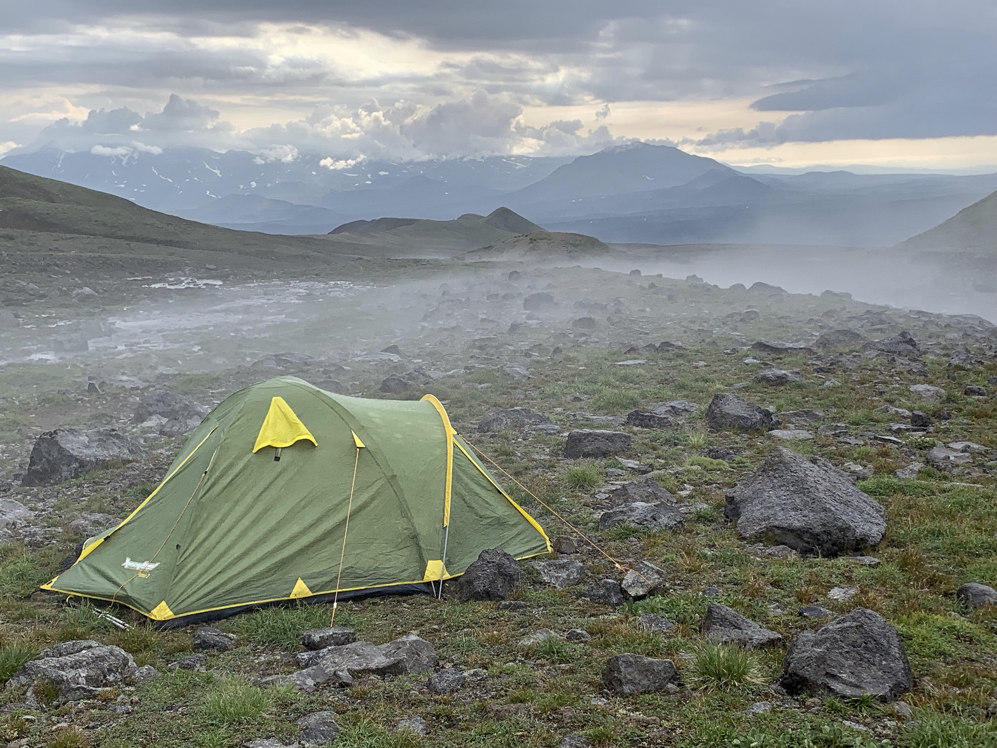 The campsite for the Muntovsky Volcano.