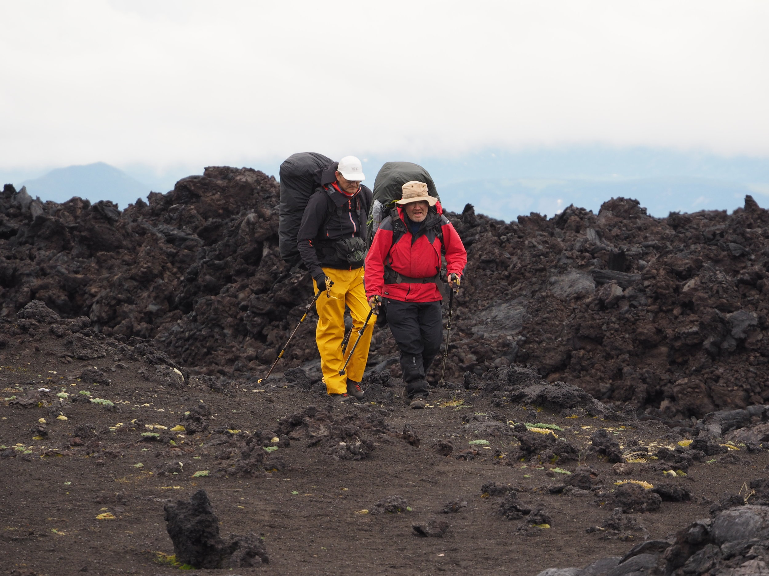 Negotiating the extensive lava fields. Photo by Evgeny Androssov.