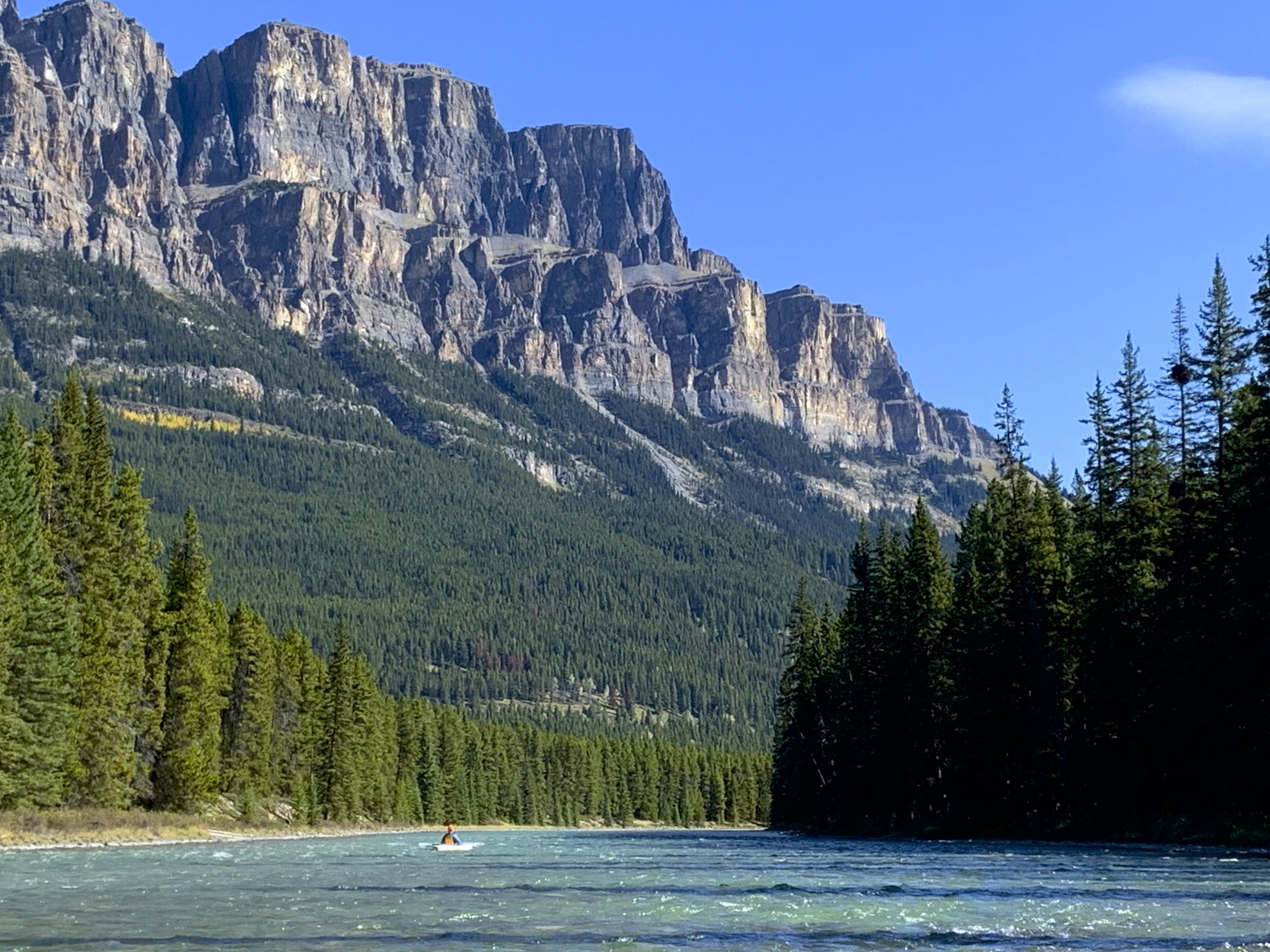 Castle Mountain and Bow River in Banff National Park