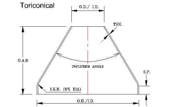 Toriconical - Diameter: 8″ – 192″Thickness: 10 GA – 3/4″