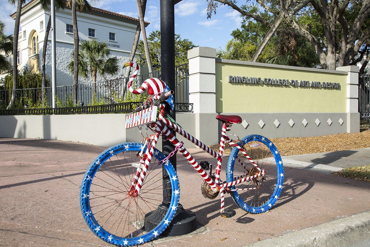 Arty bike on campus.