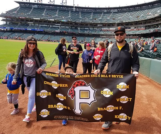 ERLL Pirates on the field in San Francisco.  Glad we could sponsor these kids.  #sf #giants #baseball #littleleague #thisisredding