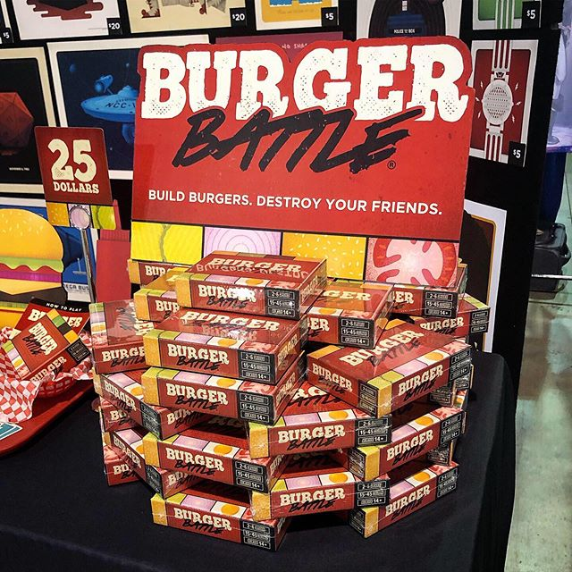 Trying something a little new for the Burger Battle display. What do you think!? We're at Wisconsin Comic Con in Milwaukee this weekend, so stop by and check out the game! 👍 - #burgerbattle #burgerbattlegame #tabletop #gaming #tabletopgames #boardgame #cardgame #wisconsin #milwaukee #comiccon