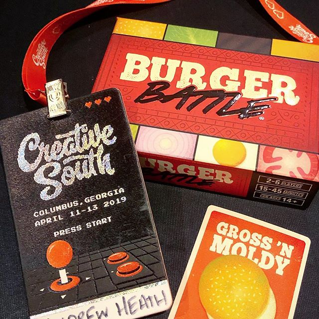 Burger Battle is at Creative South this weekend! Stop by to check out the game and get your free exclusive Battle Card! 🍔🍑 - #burgerbattle #creativesouth #design #graphicdesign #designer #columbus #georgia #cardgame #tabletop #gaming #boardgame #conference #partygame