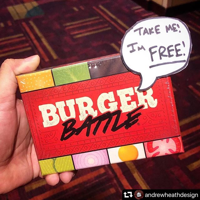 **Update: CLAIMED!** This little guy is hiding at Gen Con! If you find it, stop by the booth to pick up a free Battle Card expansion pack! - #gencon2019 #gencon #tabletop #tabletopgame #indianapolis #indiana #gaming #burgerbattlegame #burgerbattle #cardgame