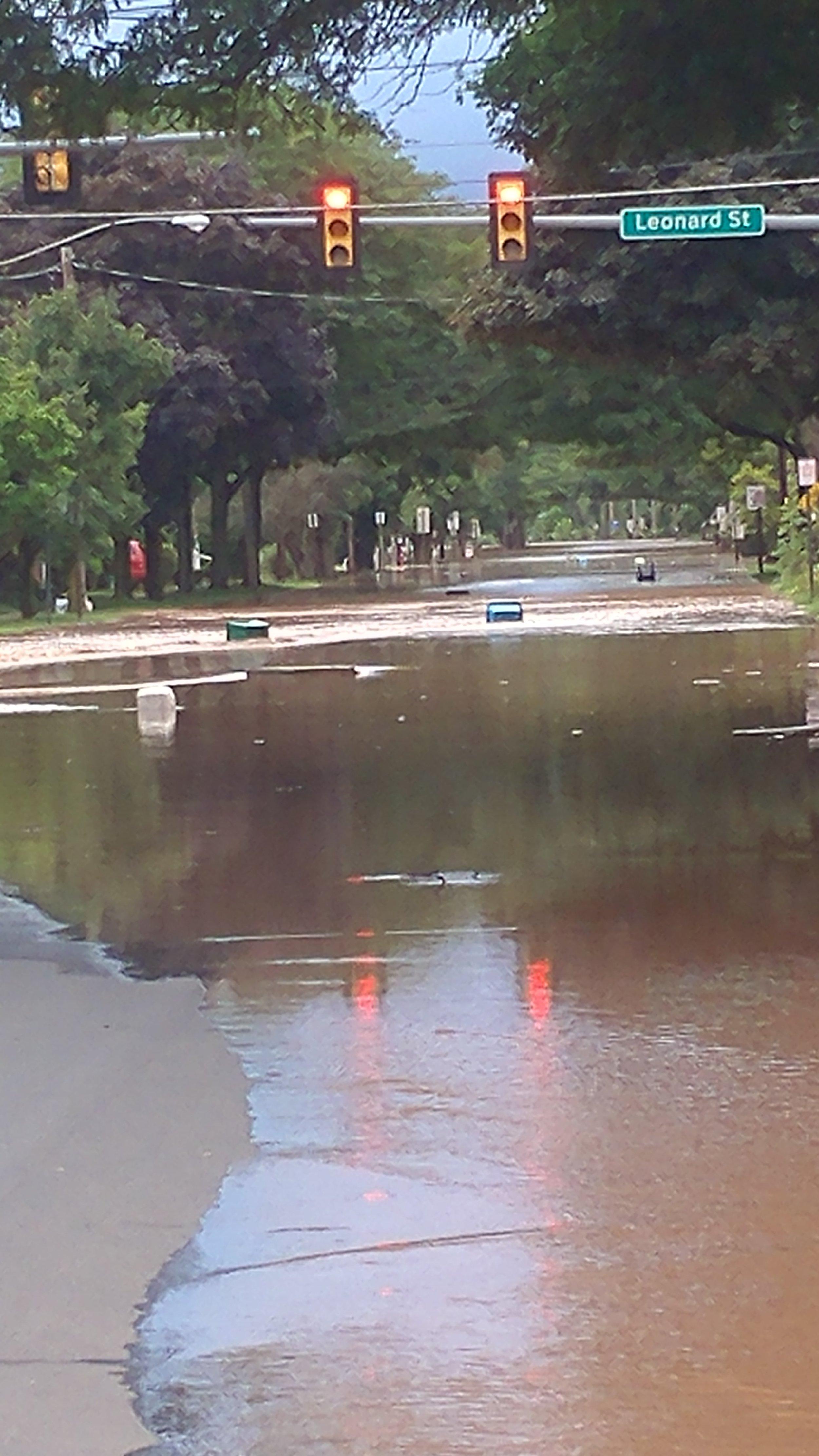 Flooding on lower Main Street in Bloomsburg Monday evening, courtesy of Valeri Reynolds.