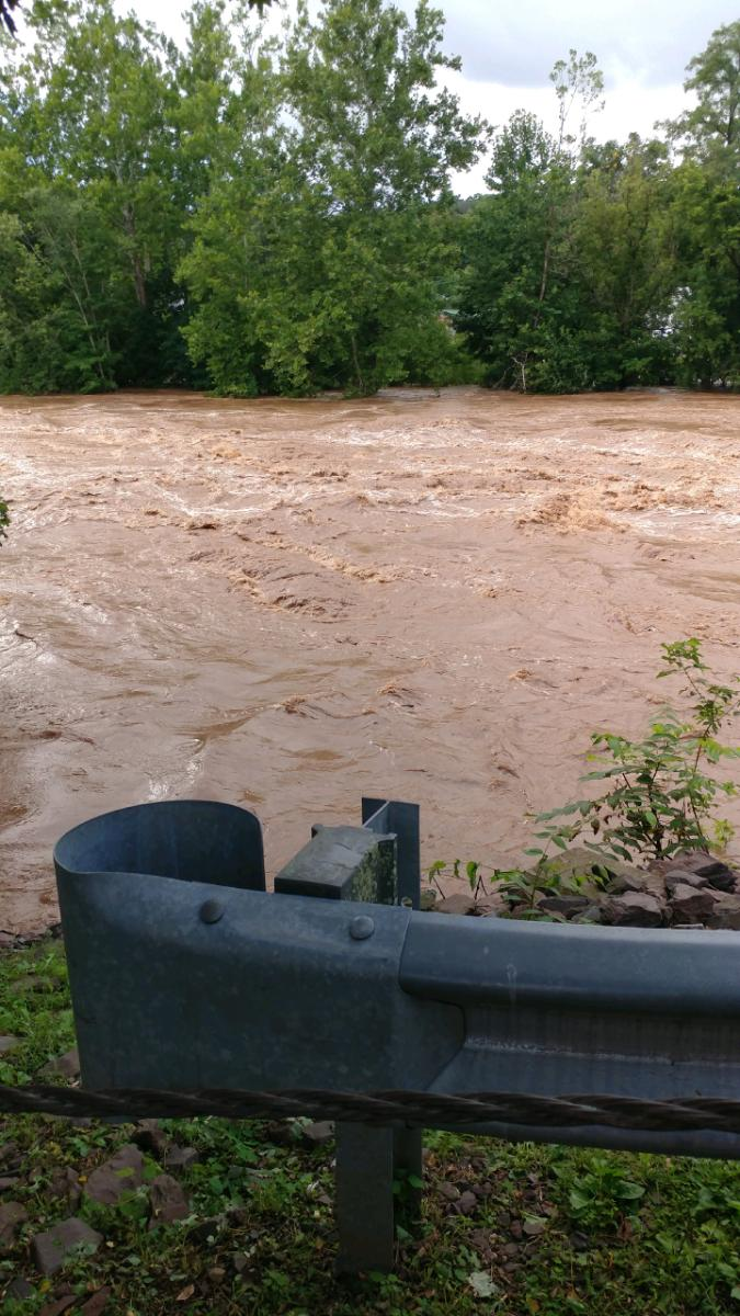 Images of Fishing Creek just as the flood began to spill over the banks into Bloomsburg and Fernville Monday, courtesy of Valeri Reynolds