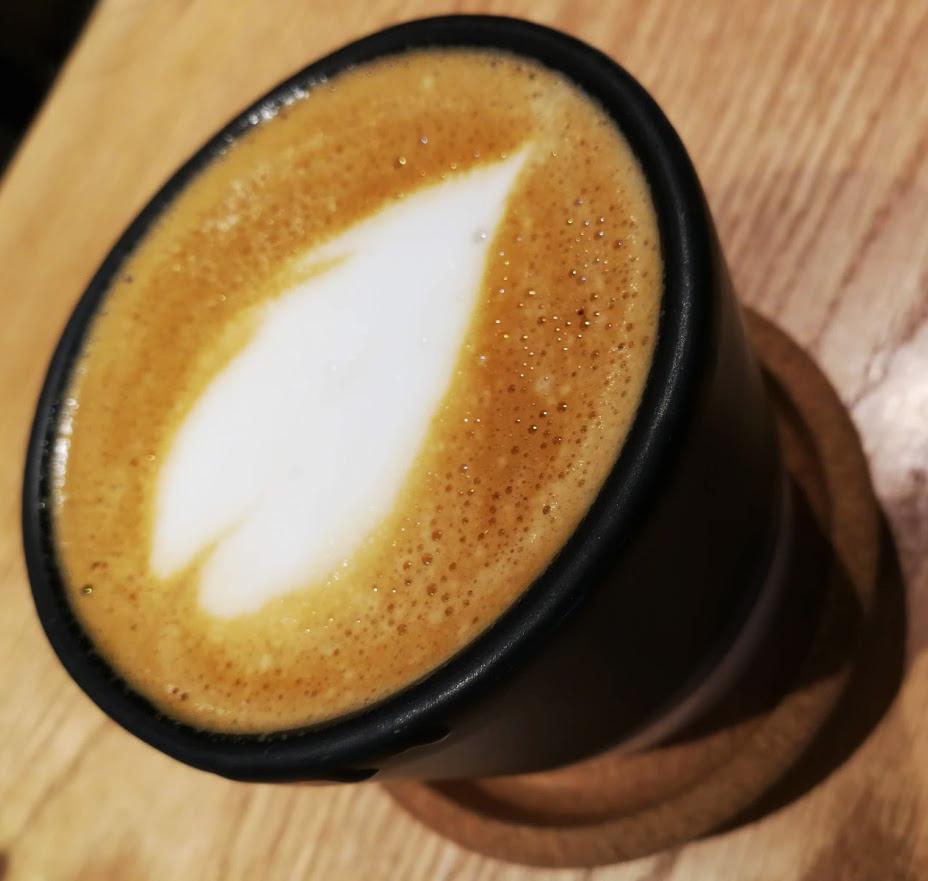 a coffee with heart at Raku