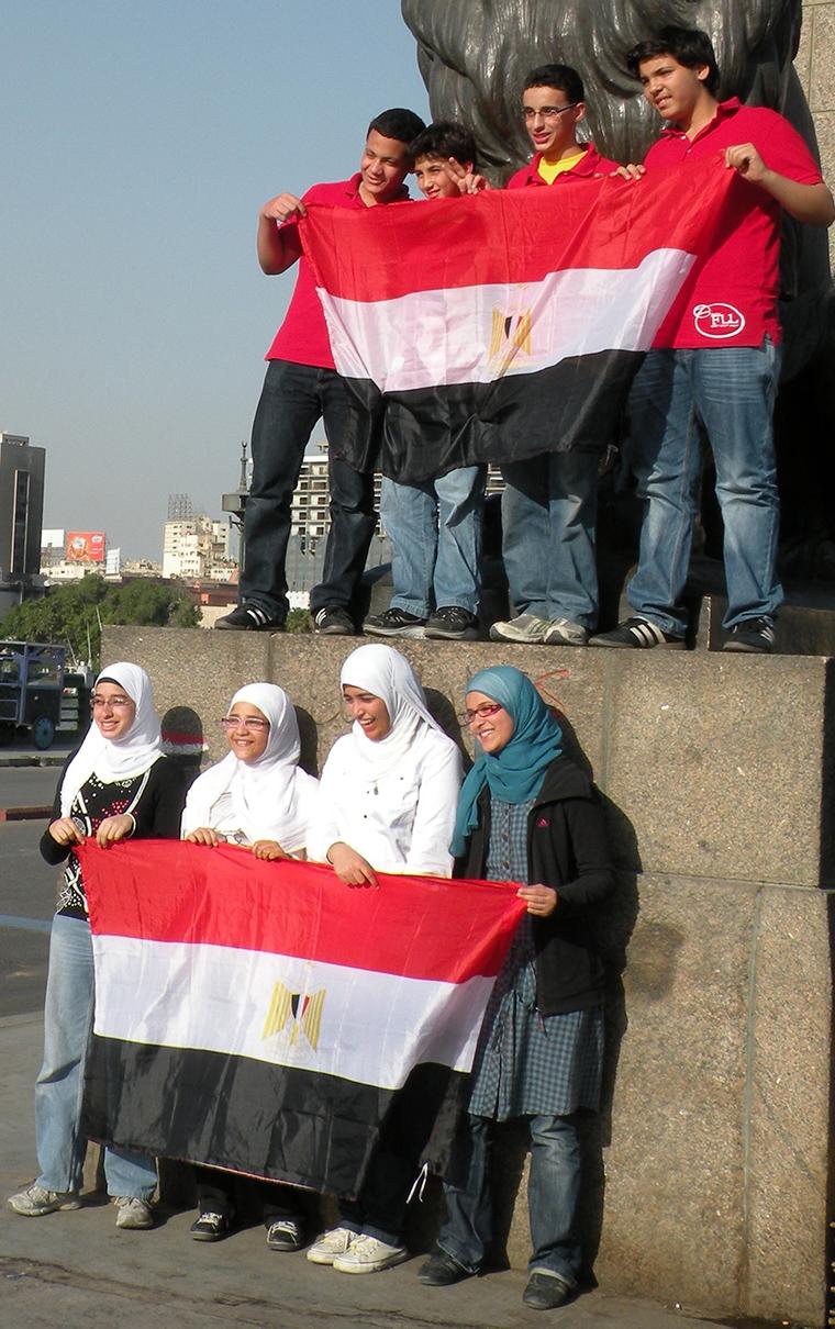 Peaceful protestors in Tahrir Square
